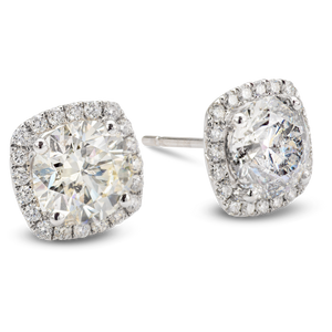18k White Gold 3.65cttw Round Cut Diamond Studs