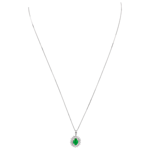 Emerald and Diamond Halo Pendant (White Gold)