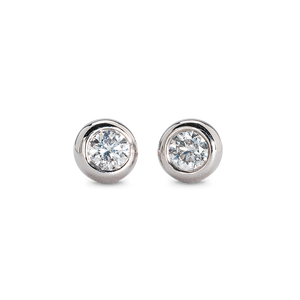 Bezel Set Diamond Stud Earrings (14K White Gold)