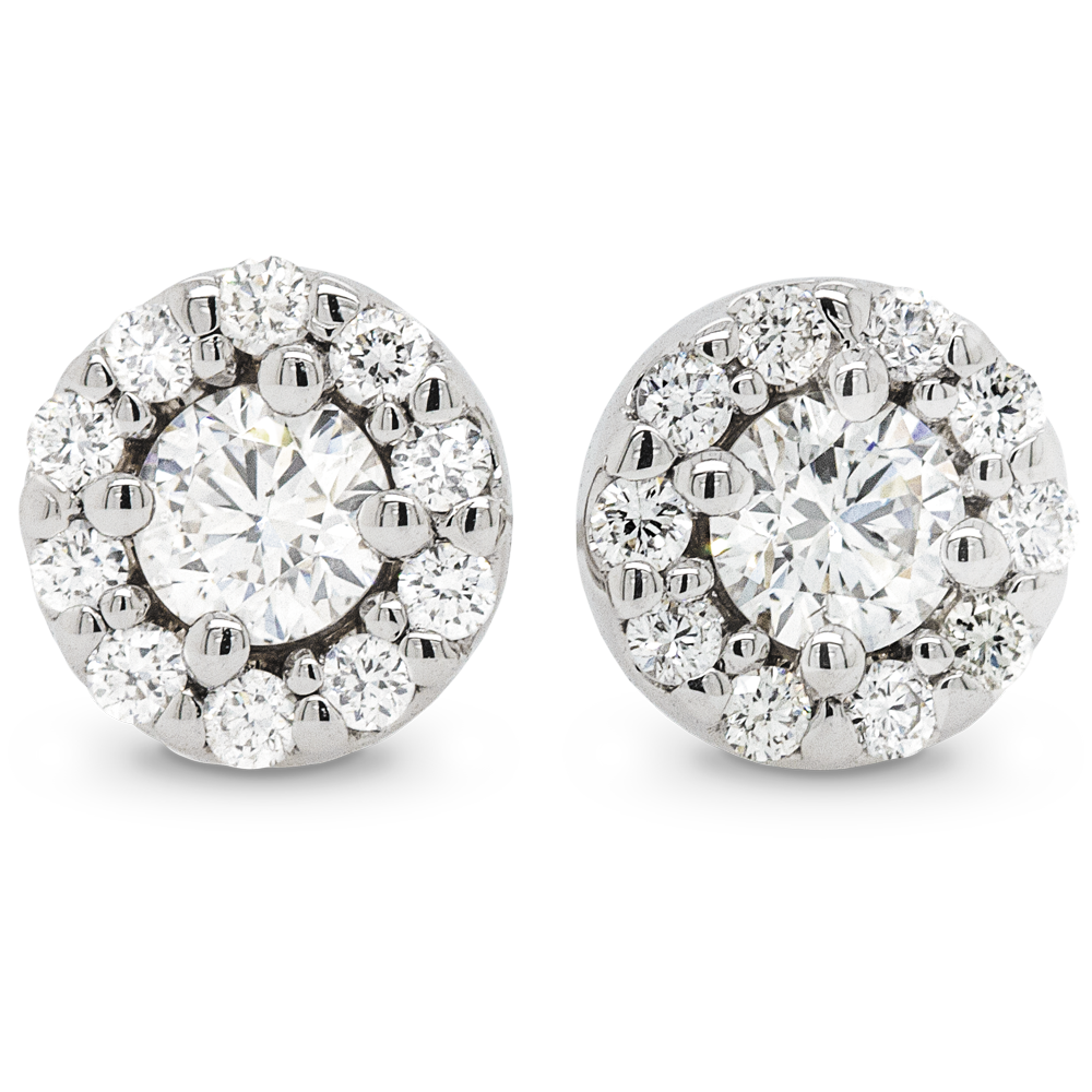 Diamond Halo Earrings (White Gold)