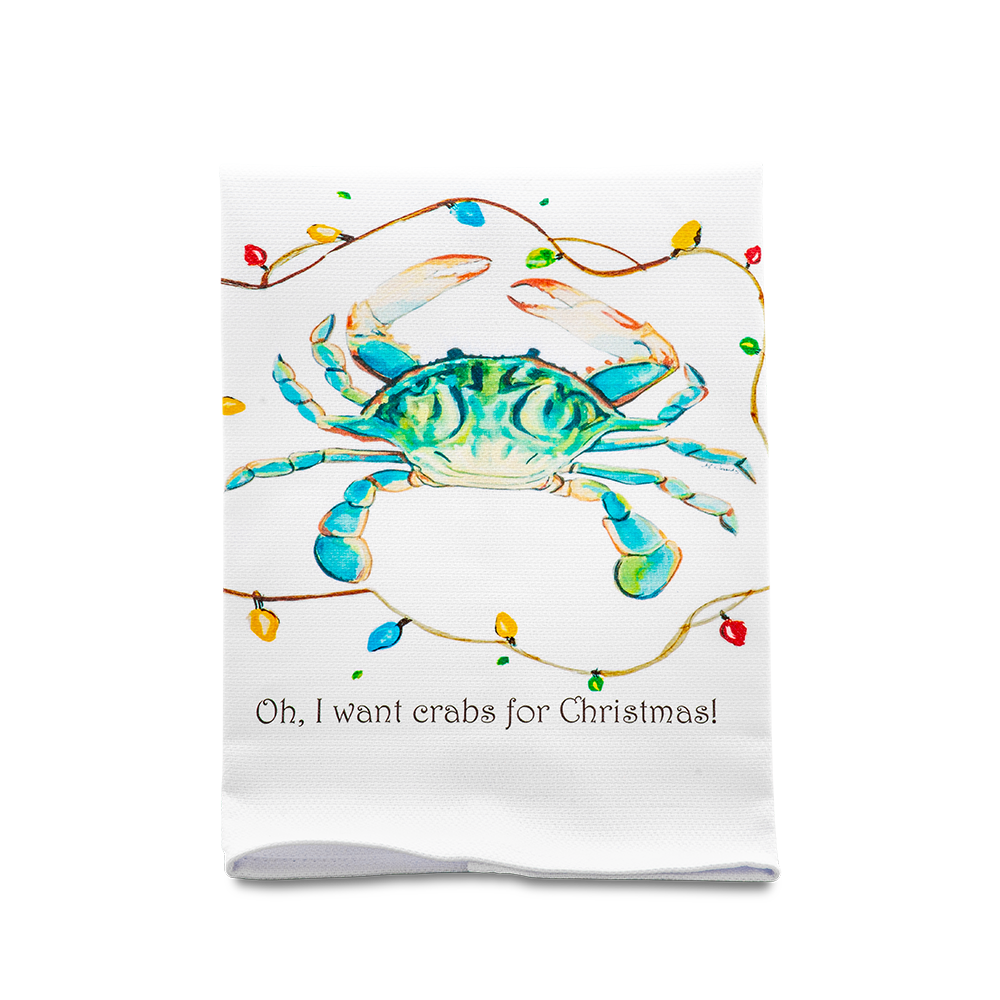 Oh, I Want Crabs for Christmas Dish Towel