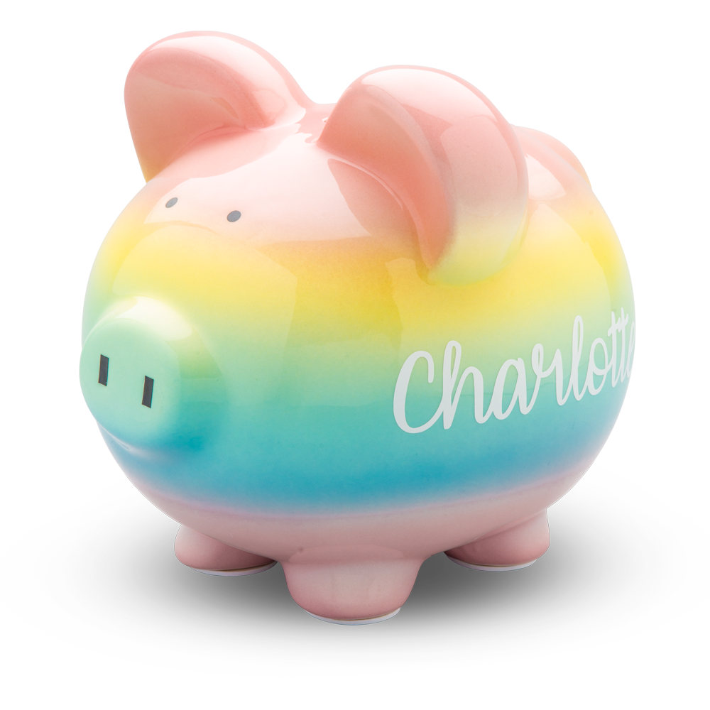 Rainbow Ombre Piggy Bank