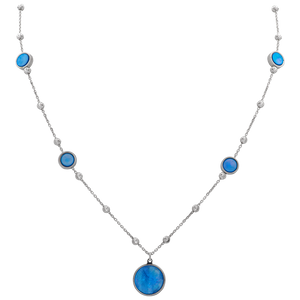 Sterling Silver Necklace with Bezel Set Blue Mother of Pearl
