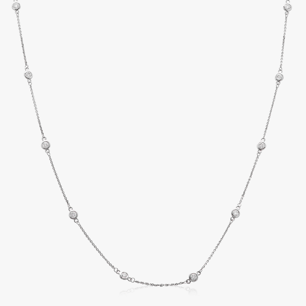Single Strand Diamond Station Necklace (White Gold)