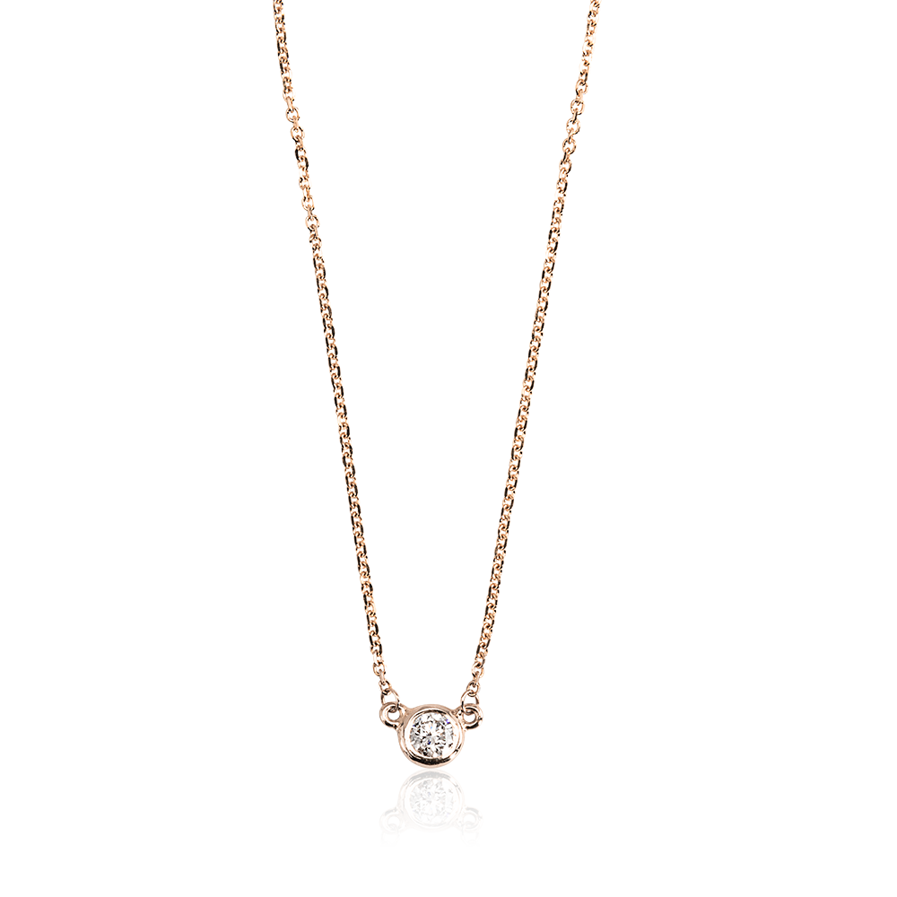 Single Diamond Necklace (Rose Gold)