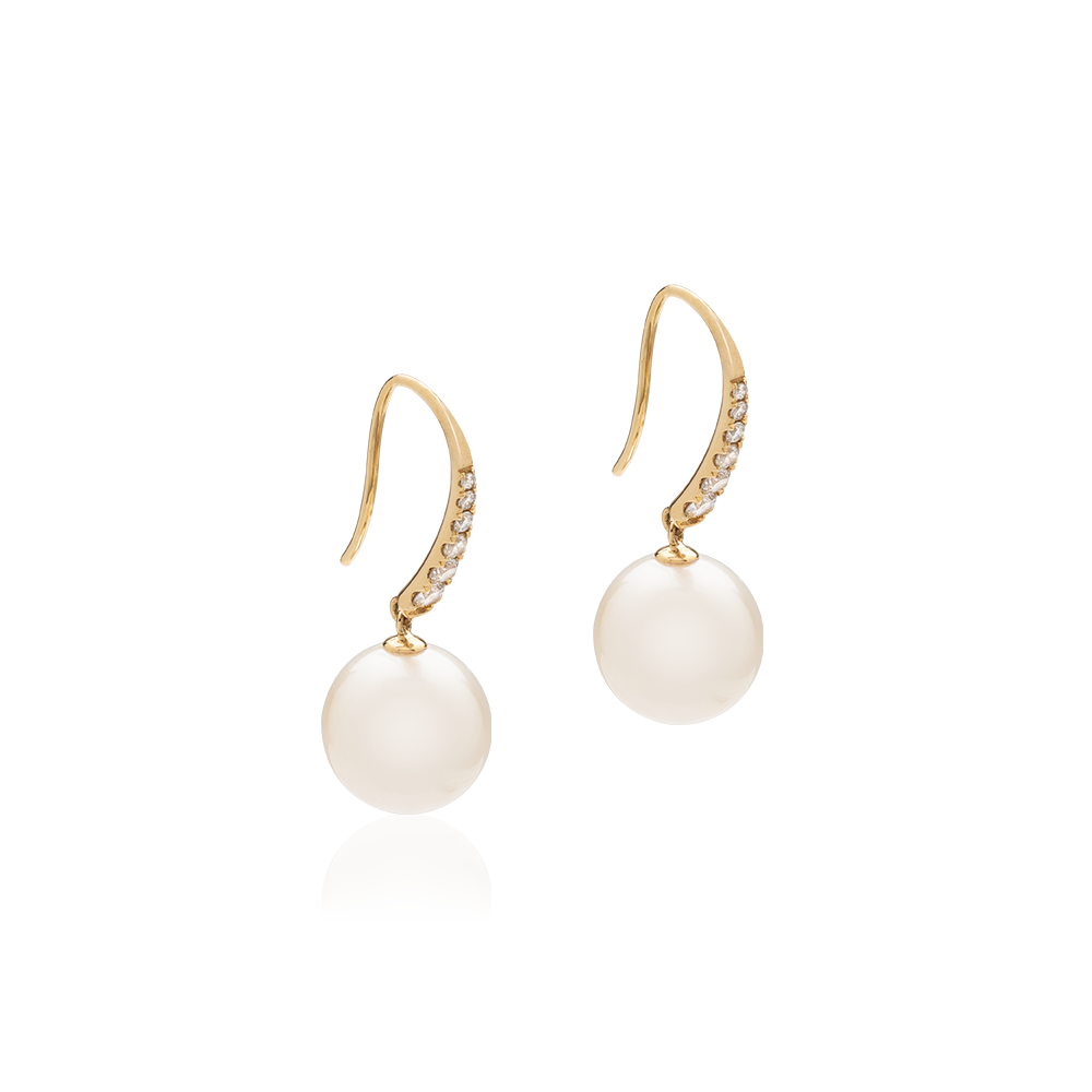 Wire Drop Earrings with South Sea Pearl and Diamond (14K Yellow Gold)