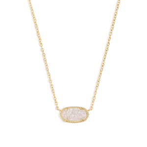 Elisa Iridescent Drusy Necklace Gold Plated