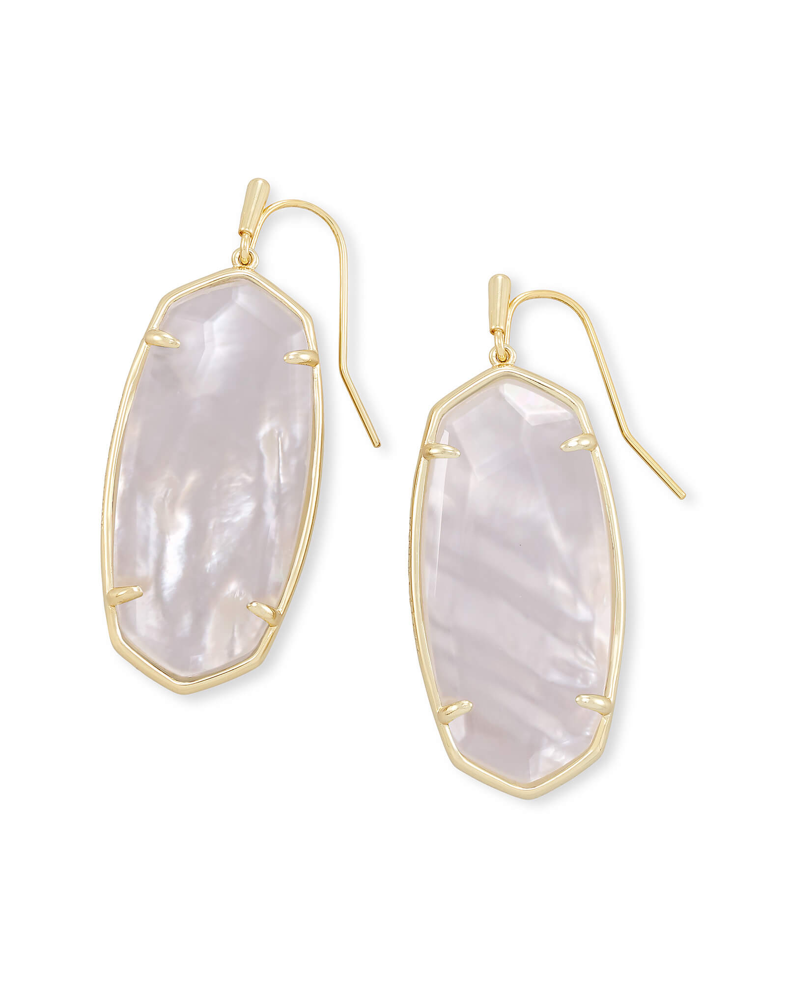 Kendra Scott Faceted Elle Gold Drop Earrings in Ivory Mother of Pearl or Rose Quartz