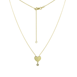 Gold Heart Pendant with Diamond Accent