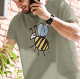 Busy Bee T-shirt - Hand-drawn illustrated Bee on Sage colour vegan cotton t-shirts by Hector and Bone