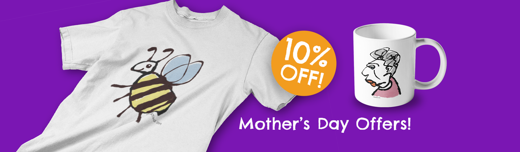 Mother's Day T-shirt and mug gift ideas from Hector and bone - 10% Off a selection of our cute illustrated vegan T-shirts and coffee mugs this Mothering Sunday