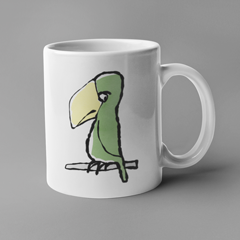 Peter Parrot Mug - Illustrated Parrot Mugs by Hector and Bonevto