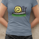 Snail T-shirt - Hand-drawn illustrated Sly the snail on Citadel Blue colour vegan cotton t-shirts by Hector and Bone