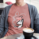 Abstract Portrait T-shirt - Hand-drawn illustrated Smoking Man on Rose Clay colour vegan cotton t-shirts by Hector and Bone