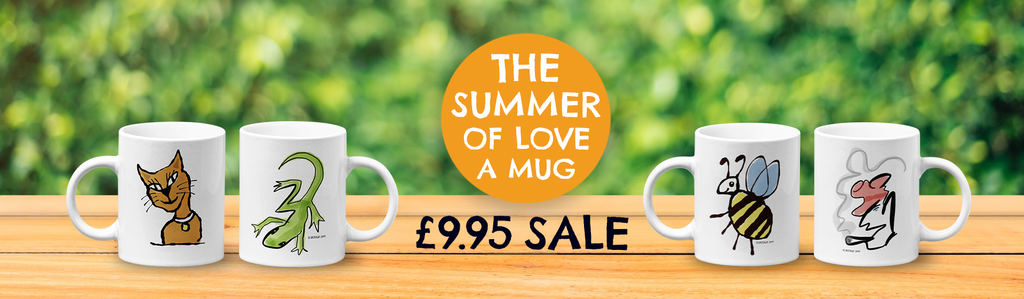 The Hector and Bone Summer of Love a Mug Sale - all original illustrated mugs now only £9.95