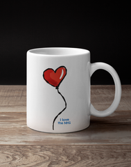 Red Heart Balloon design - I Love the NHS coffee mug - All profits donated