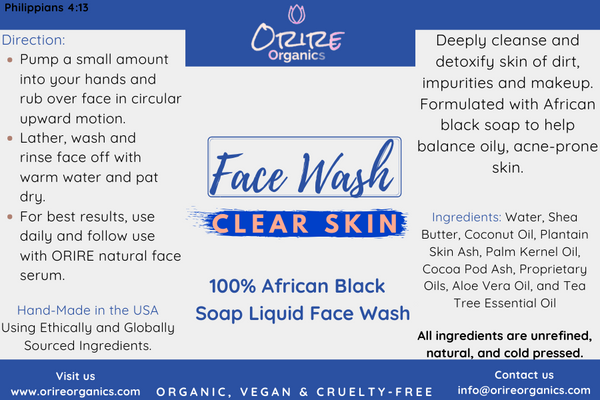 African Black Liquid Soap Face Wash