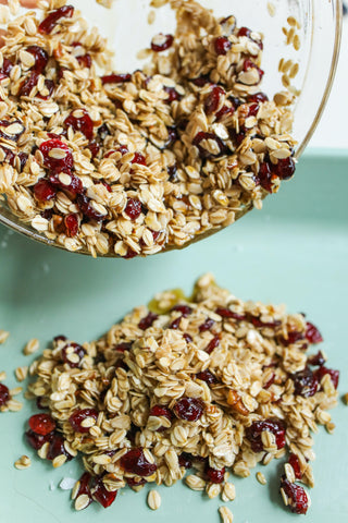 Granola and oats in a bowl