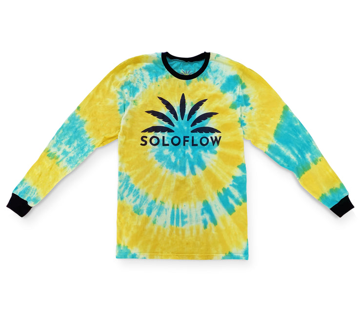 Sun Burst Tee LS (Blue/Yellow) - Soloflow Brand Merch