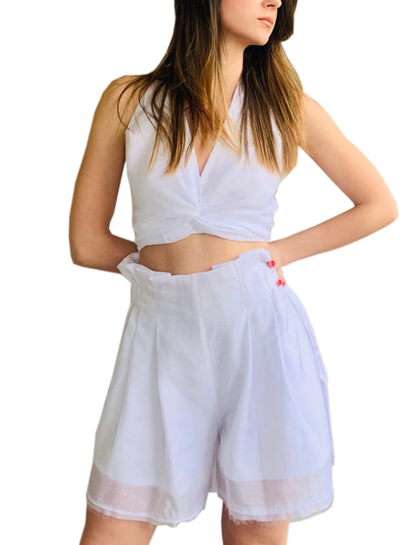 High Waist Shorts with Adjustable Belt