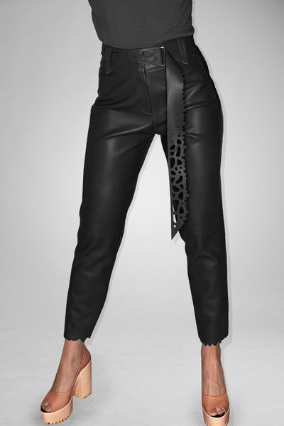 Straight Pants in Faux Leather with Handmade Belt