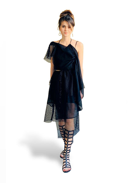 Asymmetric Black Dress with Mesh