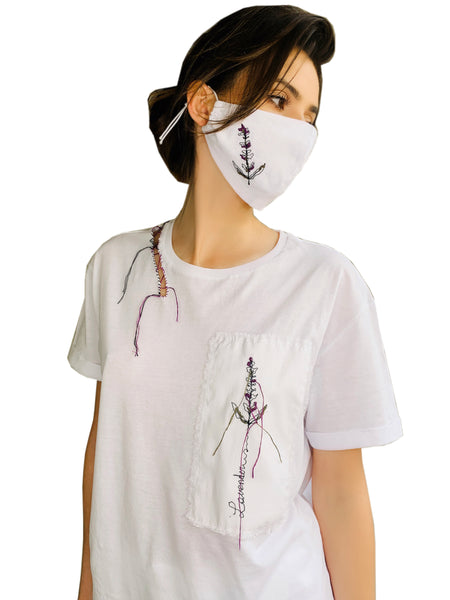 T-Shirt with Handmade Lavender Embroidered Application