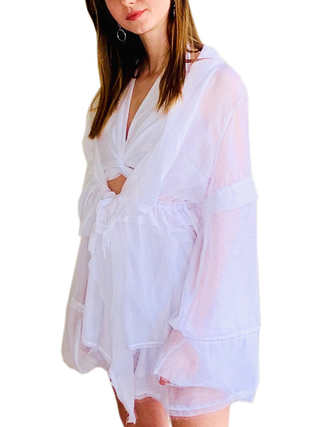 Wide Sleeve Transparent Shirt-Cardigan