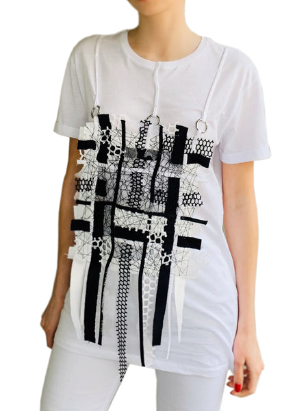 T-Shirt with Removable Patchwork Application