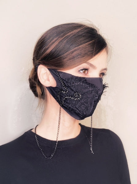 Lace Fashion Mask with Chain