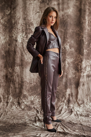 Straight Pants in Faux Leather With Handmade Embellishment