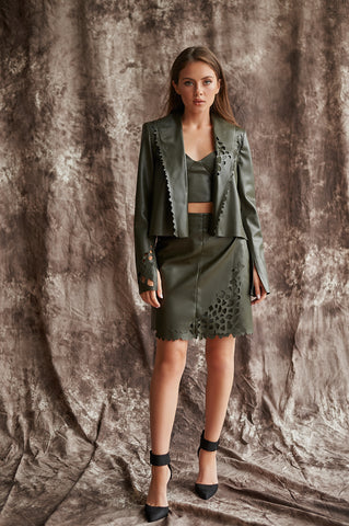 Cropped, Faux Leather Jacket with Slits