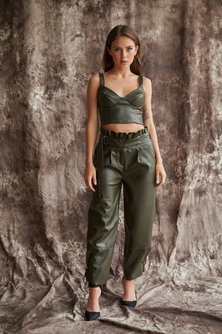 Wide-Leg, Ankle Trousers in Faux Leather