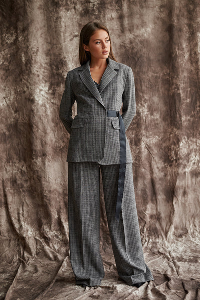 Classic Checked Blazer With Adjustable Belt