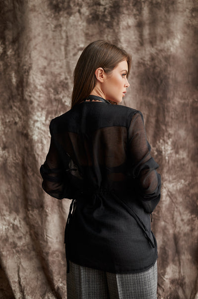 Long-Sleeves, Transparent Blouse With a Deep Neckline