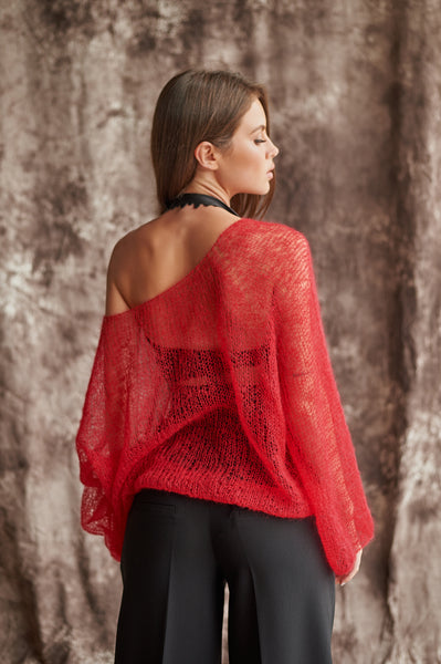 Handmade, Transparent Sweater Red