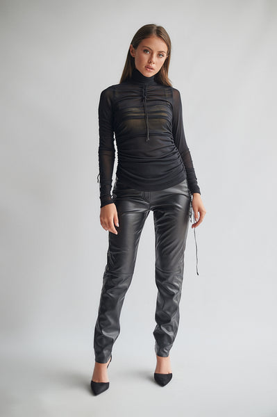 Stretch Faux Leather Fleece Leggings