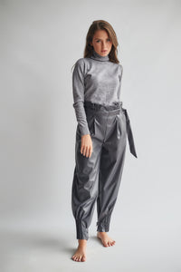 Loose Faux Leather Trousers