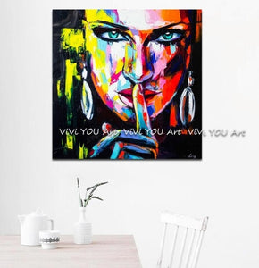 Handmade portrait canvas painting Palette knife Face Oil painting wall picture