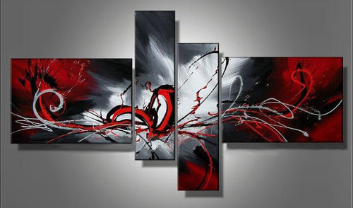 Abstract Canvas Painting Oil Black White Red Handmade Graffiti Canvas Art