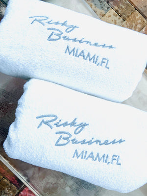 Velour Towel Embroidered with YOUR Name , monogram or logo