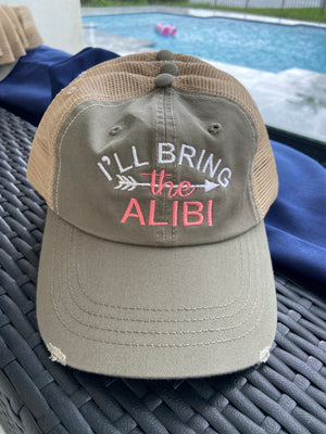 "I'll Bring The"" party hat customized embroidered and personalized for what you want to bring distressed trucker hats  Edit alt text"