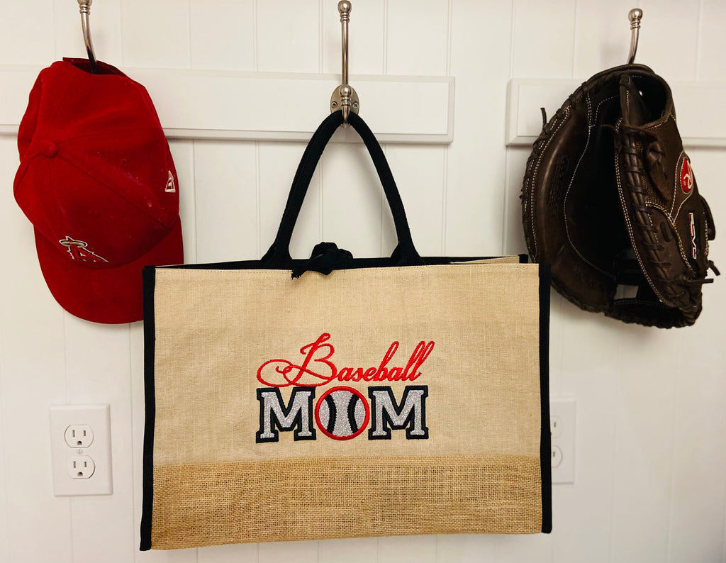 Baseball Mom Custom Burlap Shopper Tote Carry All