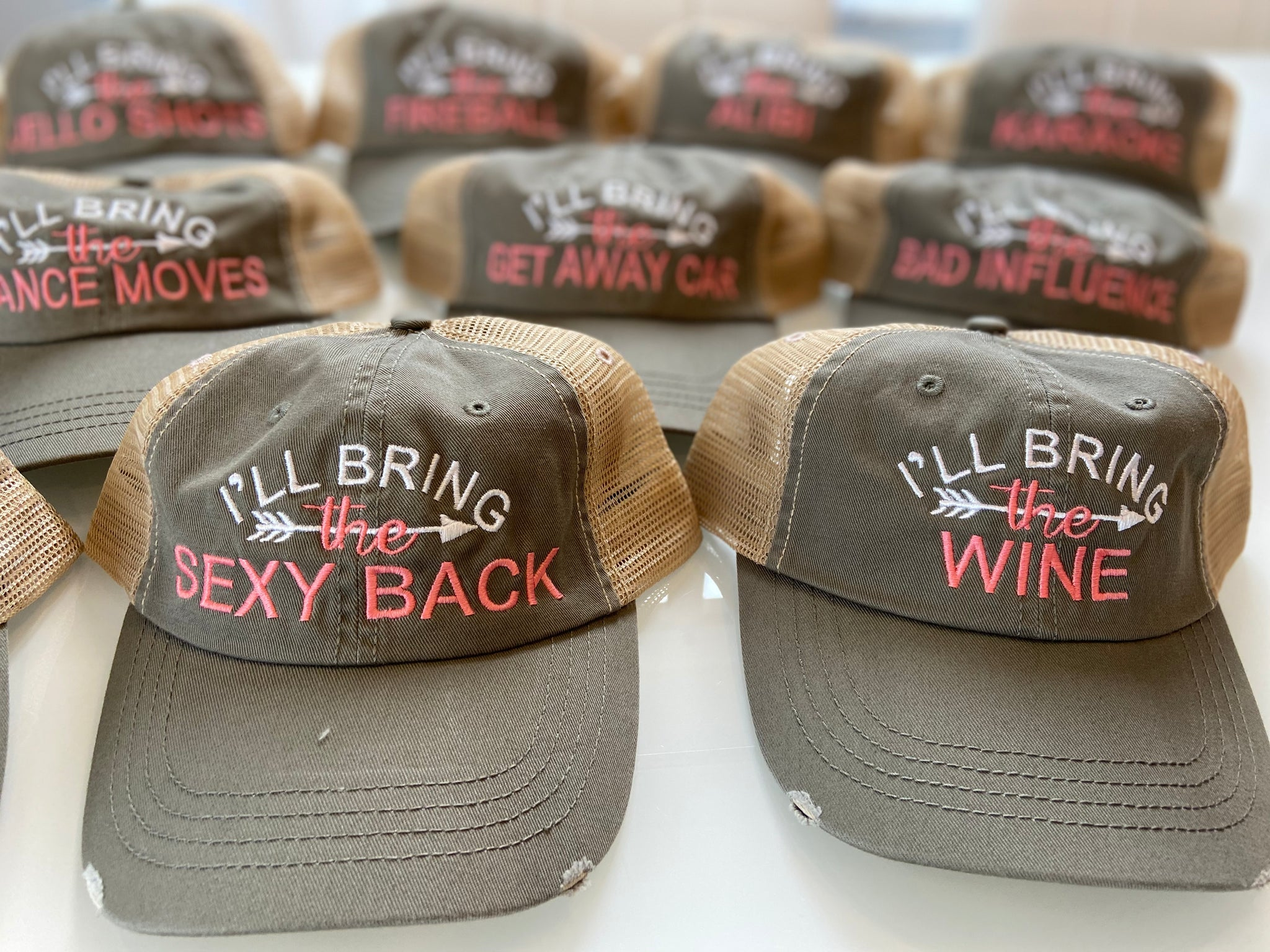 """I'll Bring the"" Distressed Party Hats Create your own or choose from over 80 options"