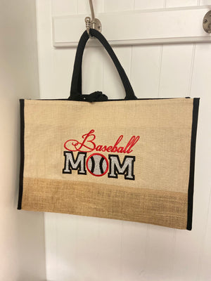 Baseball Mom Custom Burlap Shopper Tote Carry All Personalized Print Gift