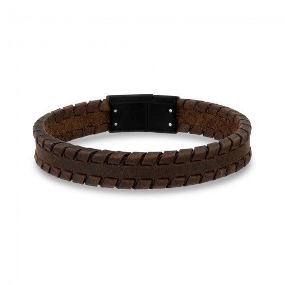 Bracelet A.R.Z steel cuir brun AS-B220