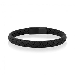 Bracelet A.R.Z. steel de cuir simple noir AS-B195
