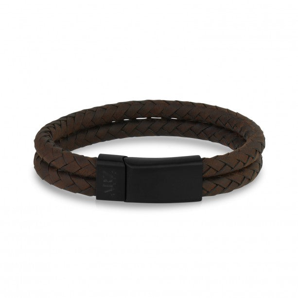 Bracelet A.R.Z steel cuir brun AS-B198