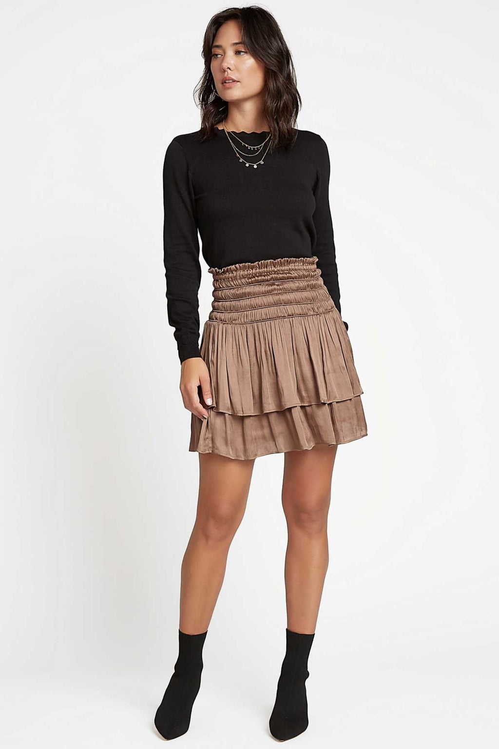 Tobacco Layered Short Skirt