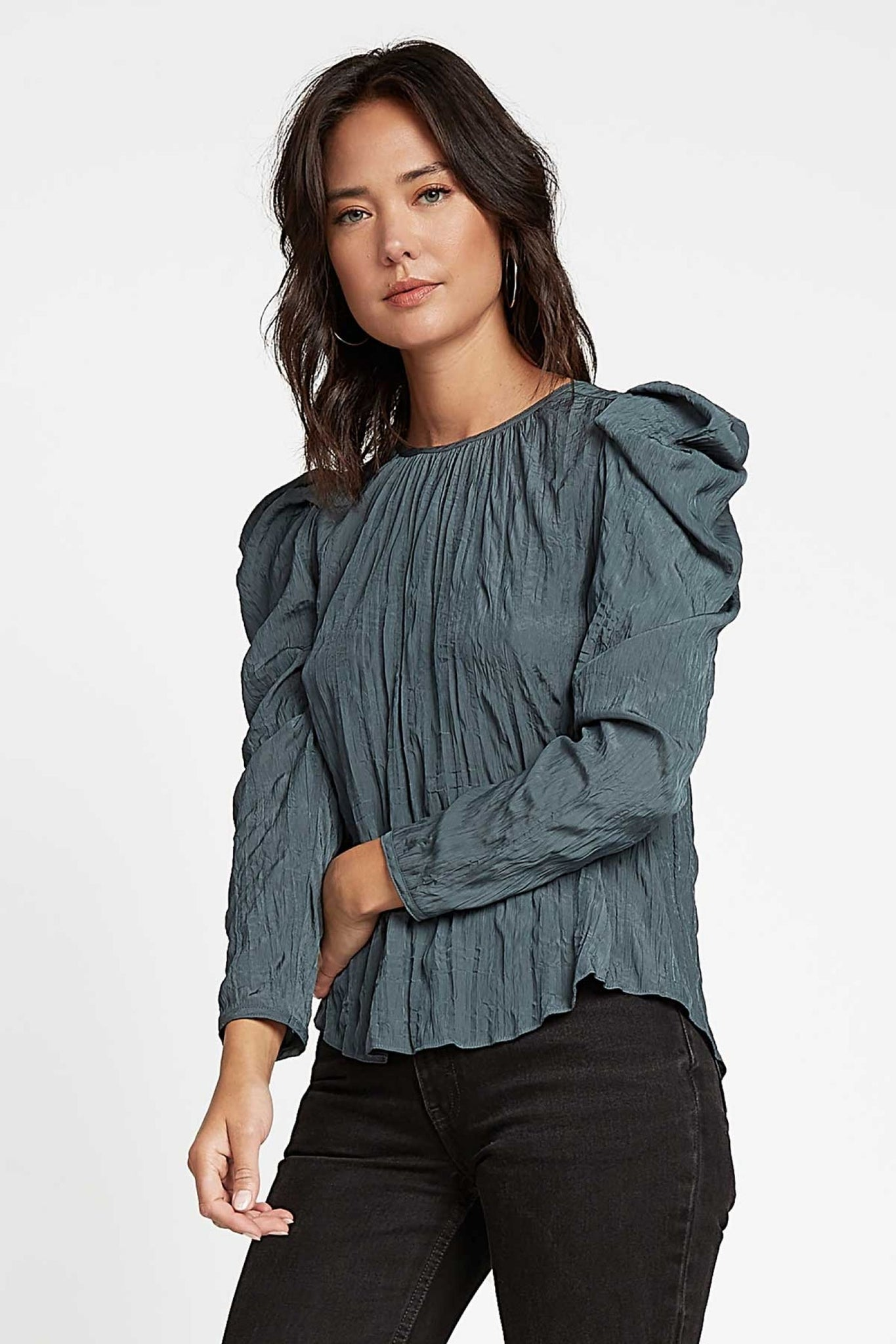 Crinkle Round Neck Top